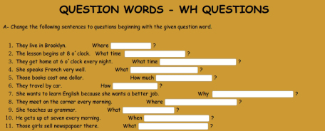 Wh Question: eng, english, grammar, question, wh | Glogster EDU